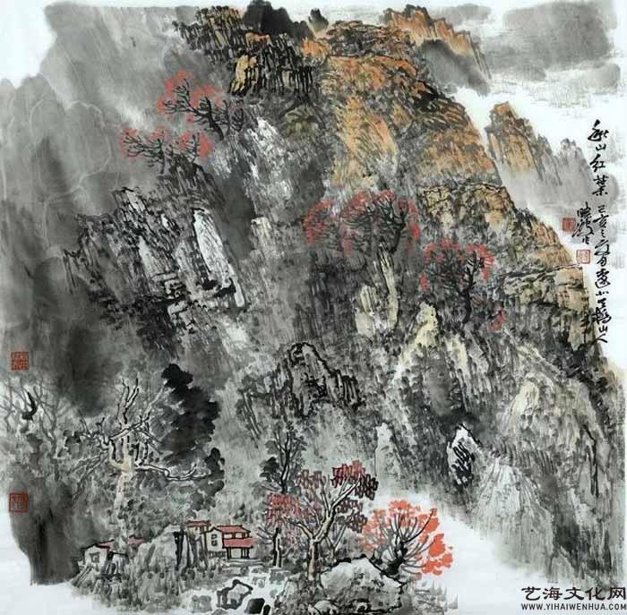 《秋山红叶》 68X68cm 2020年_看图王